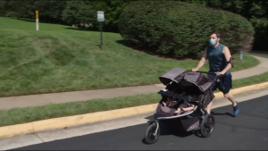 A double jogging stroller can keep you running.