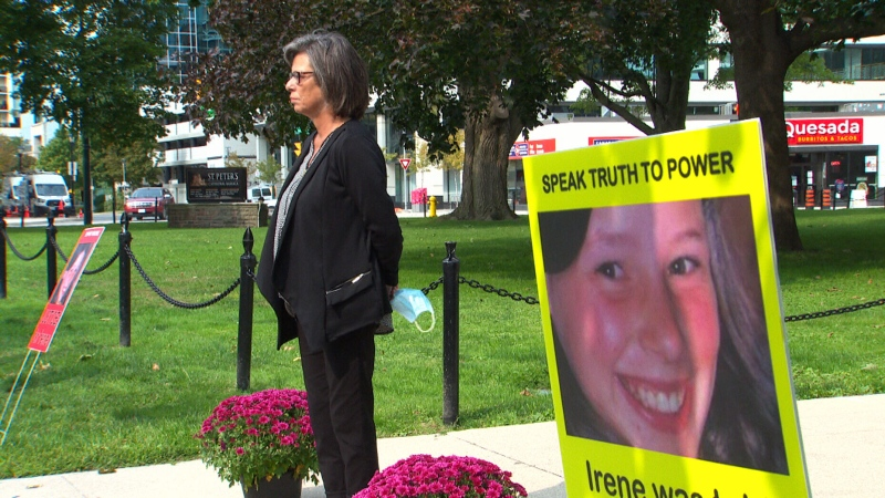 Irene Deschenes is seen at a silent vigil at the St. Peter's Basilica in downtown London, Ont.