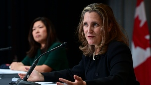 Minister of Finance Chrystia Freeland holds a news conference with Minister of Small Business, Export Promotion and International Trade Mary Ng on the second day of the Liberal cabinet retreat in Ottawa on Tuesday, Sept. 15, 2020. THE CANADIAN PRESS/Sean Kilpatrick