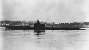 This Dec. 27, 1941, photo released by U.S. Navy shows USS Grenadier (SS-210) off Portsmouth, New Hampshire. (United States Navy via AP)