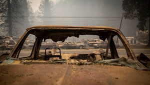 Blue River, Ore., lies in ruin, on Sept. 15, 2020. (Andy Nelson / The Register-Guard via AP, Pool)