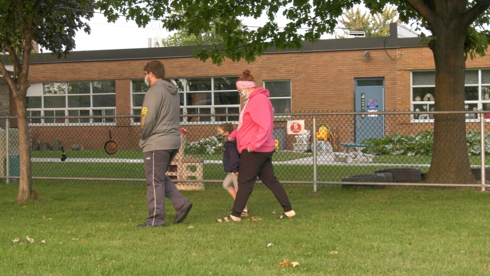 Parents drop off their kids at school in Amherstburg, Ont., on Wednesday, Sept. 16, 2020. (Bob Bellacicco / CTV Windsor)