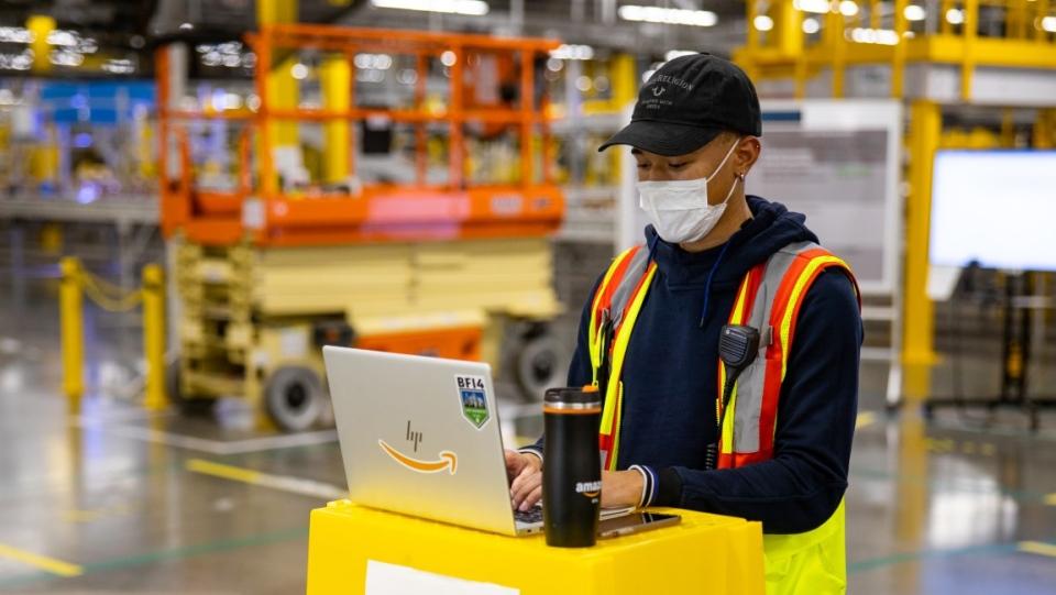 Amazon employee in warehouse