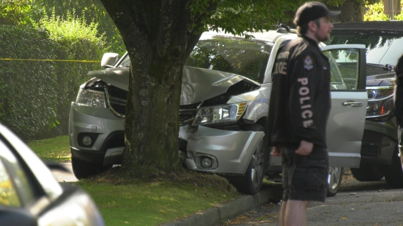 Authorities said the suspects eventually hit a tree near Manitoba and West 59th Avenue.