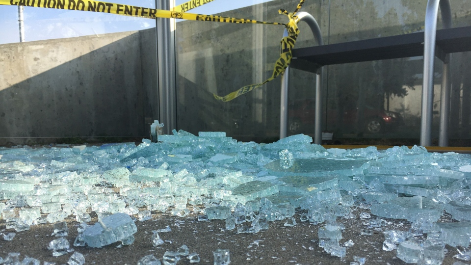 Smashed bus shelters, Sept. 16