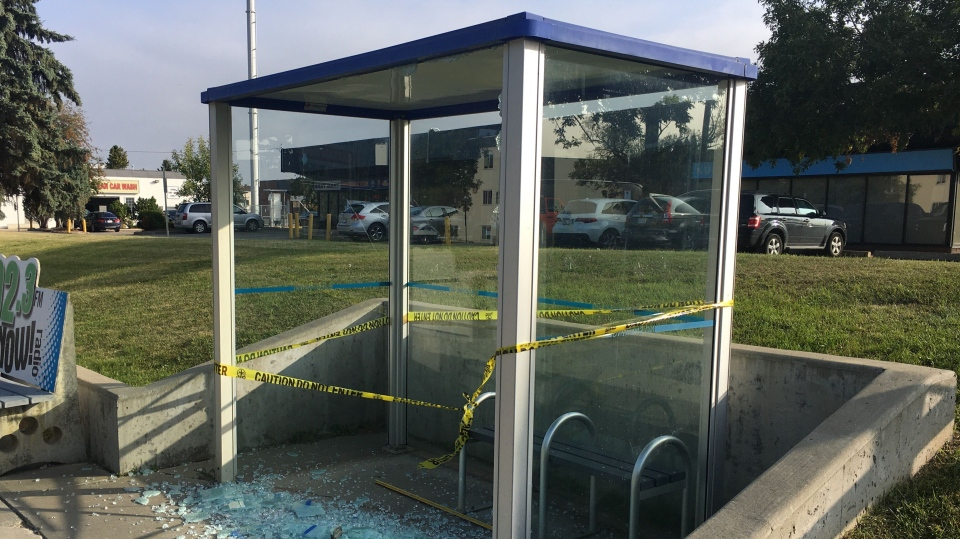 Damaged bus shelters, Sept. 16, 2020