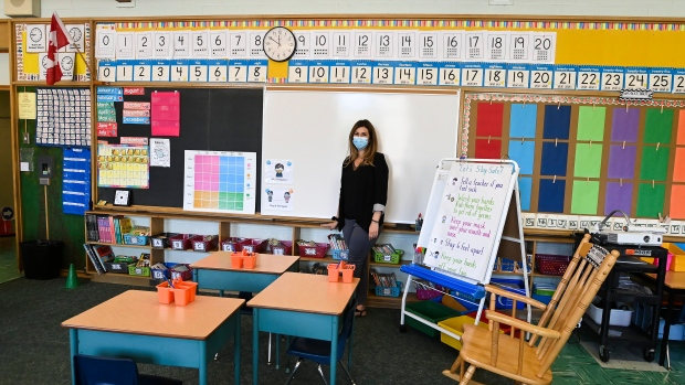Grade two teacher Vivian Mavraidis prepares her classroom at Hunter's Glen Junior Public School which is part of the Toronto District School Board (TDSB) during the COVID-19 pandemic in Scarborough, Ont., on Monday, September 14, 2020. THE CANADIAN PRESS/Nathan Denette