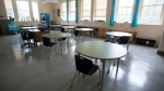A cleaned and physically distanced classroom is seen during a media tour in Vancouver on Sept 2, 2020. (Jonathan Hayward / THE CANADIAN PRESS)