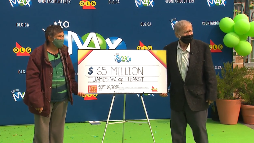 James and Eerikka from Hearst, Ont. collect winnings from Lotto Max jackpot. Sept. 16/20 (CTV News)