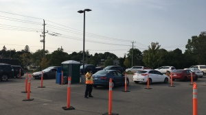 Cars line up for COVID-19 tests in Kitchener on Sept. 16, 2020 (Stephanie Villella / CTV News Kitchener)