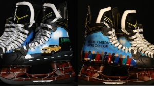 Wild defenceman Matt Dumba donated these skates, painted by his brother Kyle, to raise money for businesses in Minneapolis. (NHL)