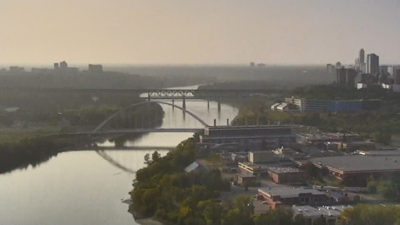 A haze has settled in over Edmonton as smoke from wildfires in the U.S. comes up to Canada. Sept. 16, 2020. (CTV News Edmonton)