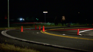 A man is in critical condition after crashing his motorcycle on Montee de Vercheres in St-Marc-sur-Richelieu. (Cosmo Santamaria/ CTV News)