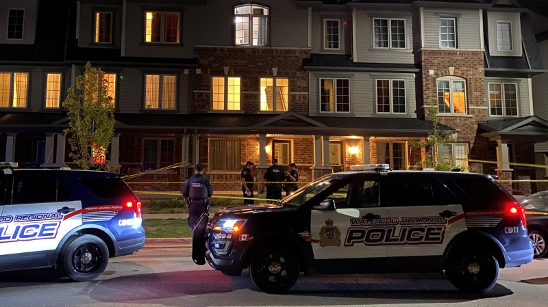 Police on the scene of a homicide investigation on Linden Avenue in Cambridge on Sept. 16, 2020. (Terry Kelly / CTV Kitchener)