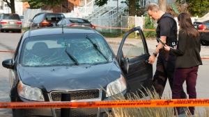 Police investigators examine the wreckage after a driver plowed into nine people Wednesday, September 16, 2020 in Montreal. Police said the injuries were none life threatening and does not appear to have been deliberate.THE CANADIAN PRESS/Ryan Remiorz