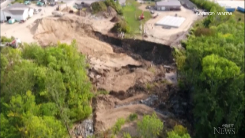 A landslide that completely blocked a river in Westbrook, Me., caused serious concerns before water seemingly started to flow trough again.