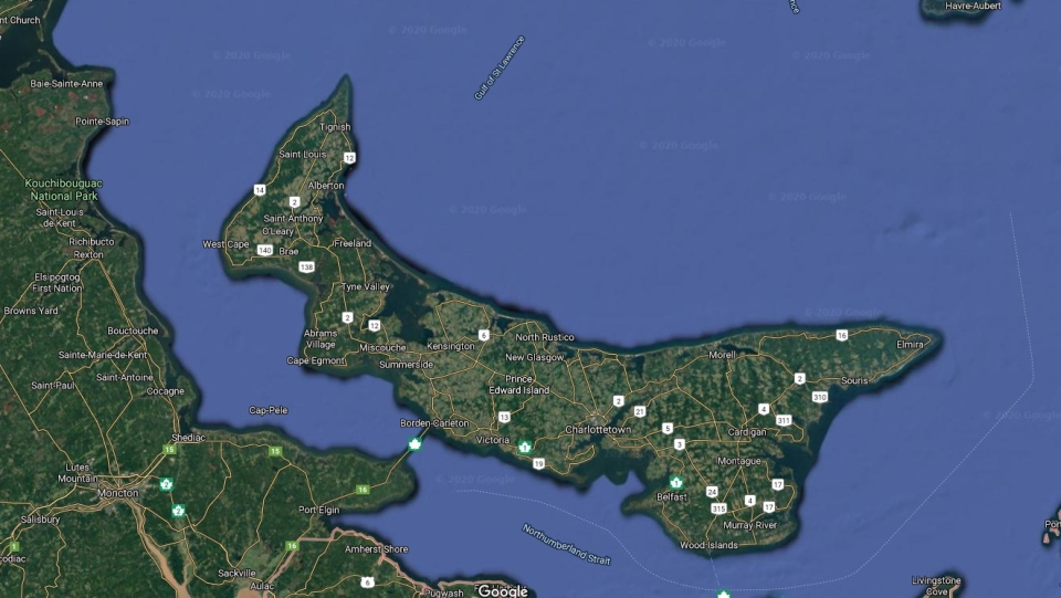 A map of Prince Edward Island is seen in this image taken from Google Maps. (Google Maps)