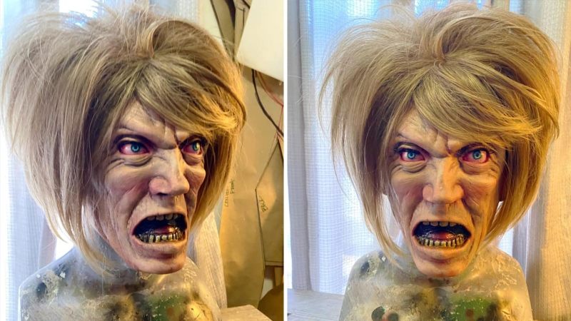 "This compilation photo shows the ""Karen"" Halloween mask. (Jason Adcock / Facebook)"
