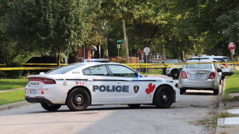 Highland Avenue was blocked to traffic as police investigated in Windsor, Ont., on Wednesday, Sept. 17, 2020. (Source: _OnLocation_ / Twitter)