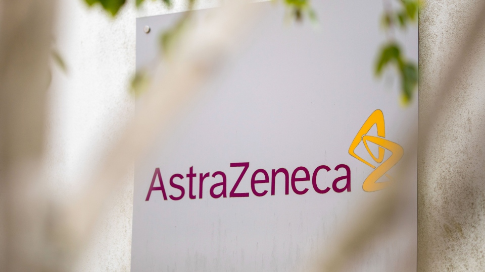 A sign featuring the AstraZeneca Plc logo stands at the company's DaVinci building at the Melbourn Science Park in Cambridge, U.K., on June 8, 2020. (Jason Alden/Bloomberg/Getty Images/CNN)