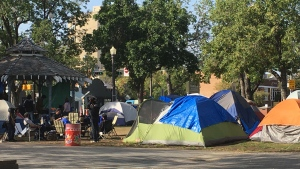The Peace Camp in Old Strathcona has been ordered to close by the city. (Evan Klippenstein/CTV News Edmonton)