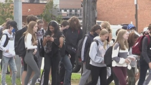 High school students gather in crowds