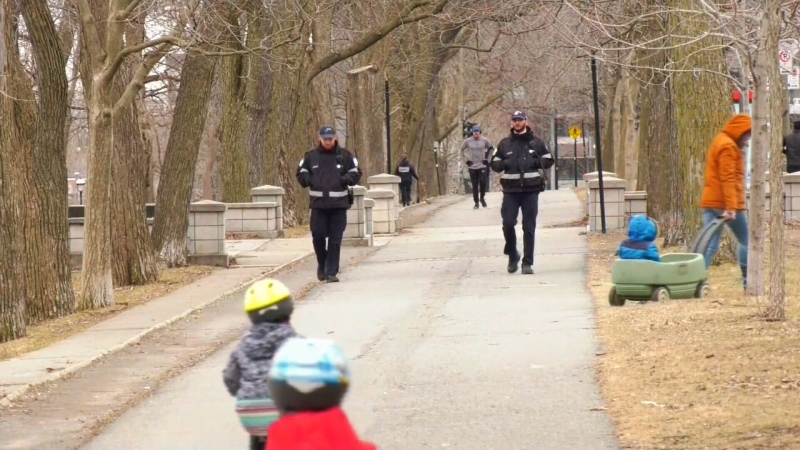 Montreal police patrolling