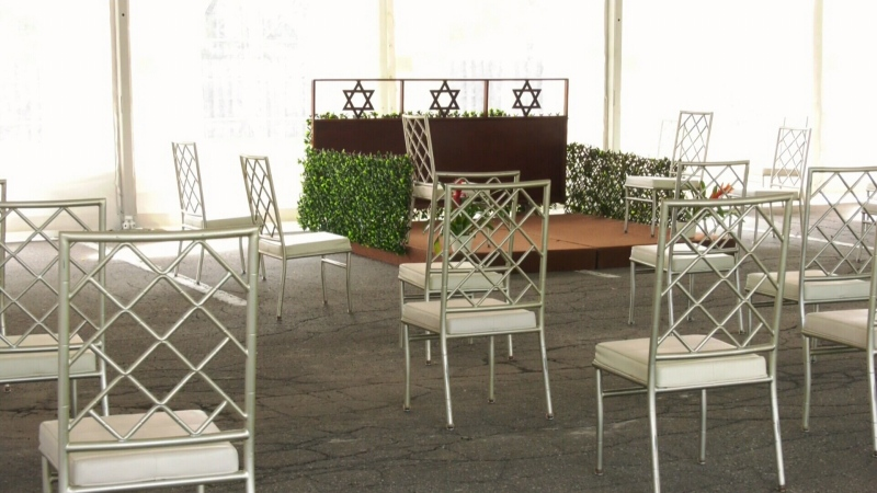 Empty synagogue reception room