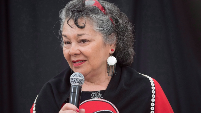 Joan Jack speaks to the commissioners at the National Inquiry into Missing and Murdered Indigenous Women and Girls taking place in Whitehorse, Yukon, Thursday, June 1, 2017. An Indigenous lawyer has filed a lawsuit against the firm that represented survivors of Indian day schools alleging she was not compensated for years of her work on the class-action case. THE CANADIAN PRESS/Jonathan Hayward