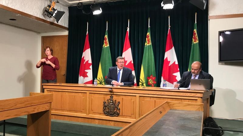 Scott Moe and Dr. Saqib Shahab speak to the media at the Saskatchewan Legislative Building on September 17, 2020. (Cally Stephanow/CTV News)