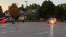Police investigate after a pedestrian was hit at University Avenue East (Terry Kelly / CTV News Kitchener)