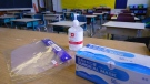 Personal protection equipment is seen on the teacher's desk in classroom in preparation for the new school year at the Willingdon Elementary School in Montreal, on Wednesday, August 26, 2020. THE CANADIAN PRESS/Paul Chiasson