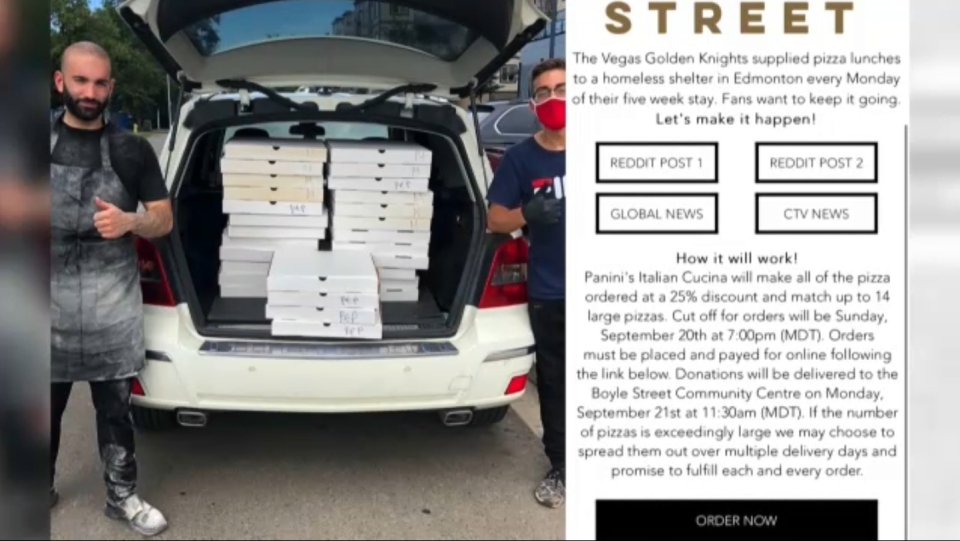 Fans have taken up the cause to buy pizzas for Edmonton's homeless community after the Vegas Golden Knights were eliminated from the playoffs.