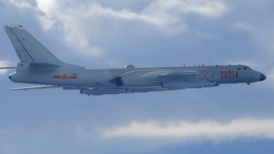 A Chinese People's Liberation Army H-6 bomber is seen flying near the Taiwan air defence identification zone, ADIZ, near Taiwan on Sept. 18, 2020. (Taiwan Ministry of National Defense via AP)