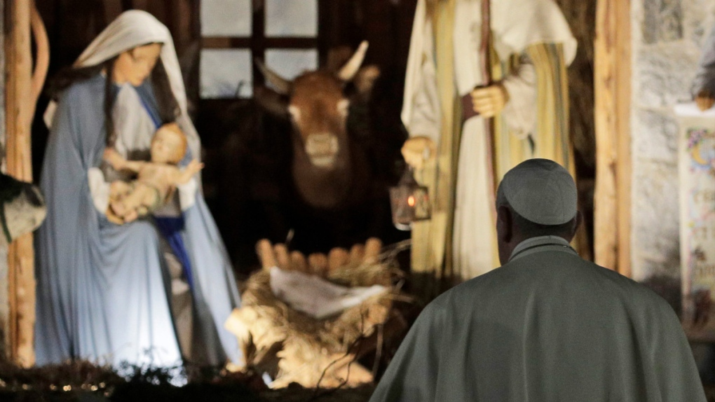 Pope Francis at the Nativity in St. Peter's quare