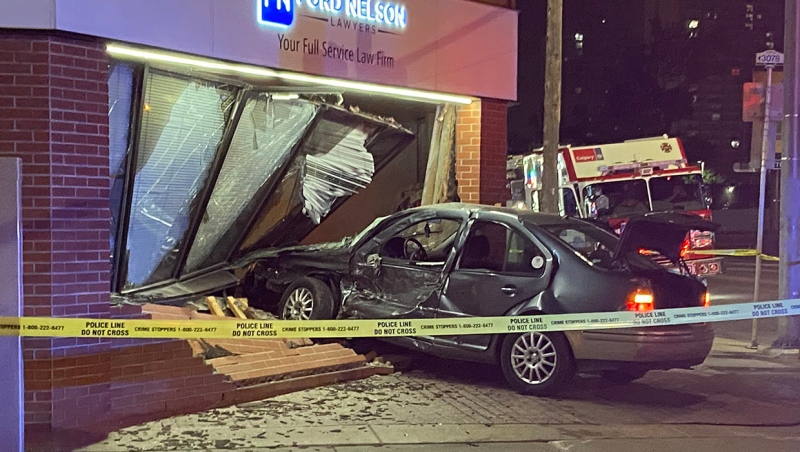 A sedan crashed through a wall and window of the Ford Nelson Lawyers office in the 700 block of 10th Ave. S.W. Friday morning