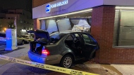 One man was transported to hospital after a car crashed into a building at the intersection of 10th Ave and Sixth St. S.W. early Friday morning