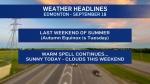 Sept. 18 weather headlines