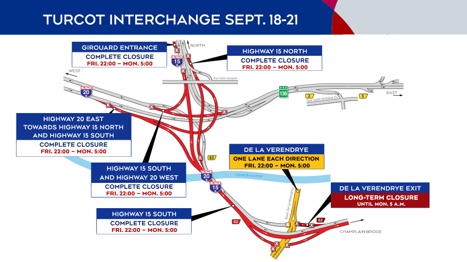 Closures in the Turcot Interchange Sept. 18-21