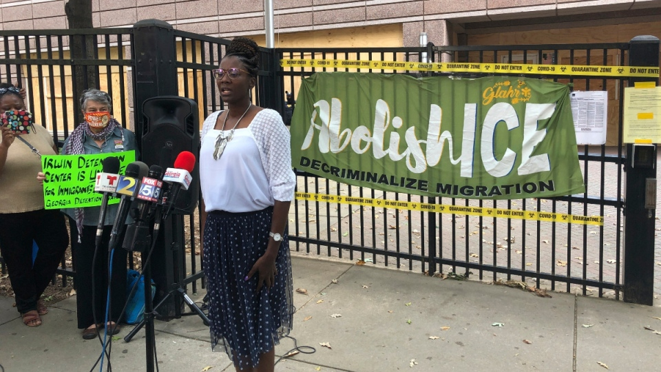 Dawn Wooten, a nurse at Irwin County Detention Center in Ocilla, Ga.,, speaks at a news conference in Atlanta, on Sept. 15, 2020. (Jeff Amy / AP)