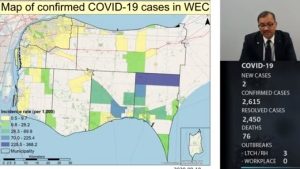 Map of confirmed COVID-19 cases in Windsor-Essex. (Courtesy WECHU)