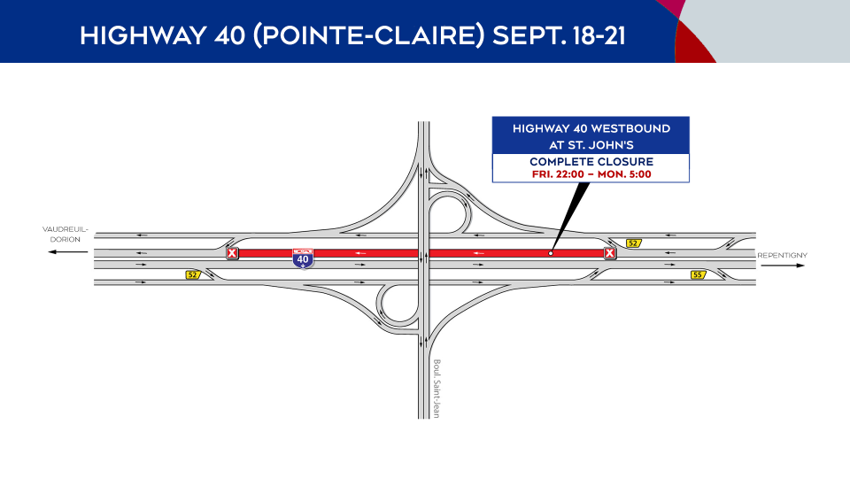 Highway 40 (Pointe-Claire) Closures Sept. 18-21