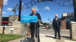Provincial officials make a rural funding announcement in Leamington, Ont., on Friday, Sept. 18, 2020. (Rich Garton / CTV Windsor)