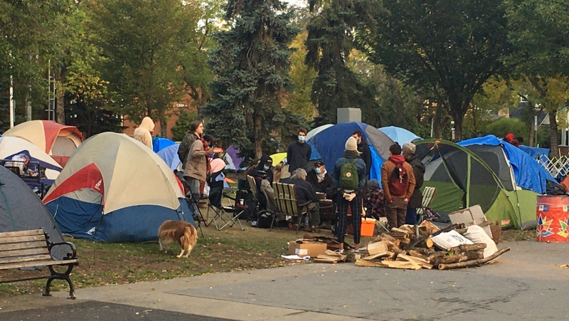 Peace Camp, a homeless encampment set up in Dr. Wilfred McIntyre Park in Old Strathcona in early September, was notified by the City of Edmonton on Sept. 17, 2020, residents had to vacate by 10 a.m. the next day.