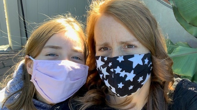 Denise Faubert and her 10-year-old daughter are pictured here wearing their face masks. (Denise Faubert)