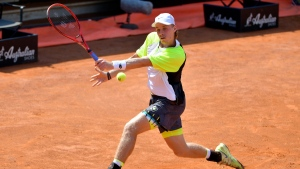 Denis Shapovalov at the Italian Open tennis tournament in Rome, on Sept. 17, 2020. (Alfredo Falcone / LaPresse via AP)