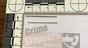 A sample of the pins and needles found at the Henry Street dog park in Woodstock, Ont. are seen in this image released on Friday, Sept. 18, 2020. (Source: Woodstock Police Service)