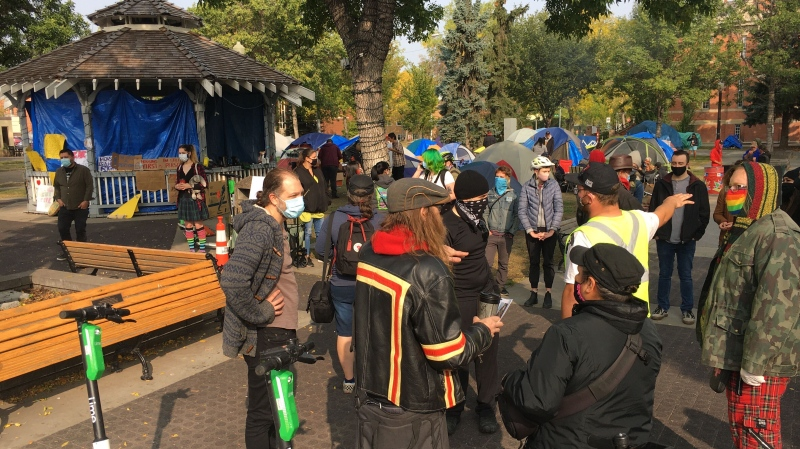 Homeless camp in Old Strathcona, Sept. 18