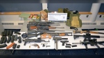Firearms allegedly seized at a B.C. border crossing are shown in an image provided by the Canada Border Services Agency.