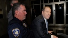 Harvey Weinstein arrives at a Manhattan courthouse as jury deliberations continue in his rape trial, Monday, Feb. 24, 2020, in New York. (AP Photo/Seth Wenig)